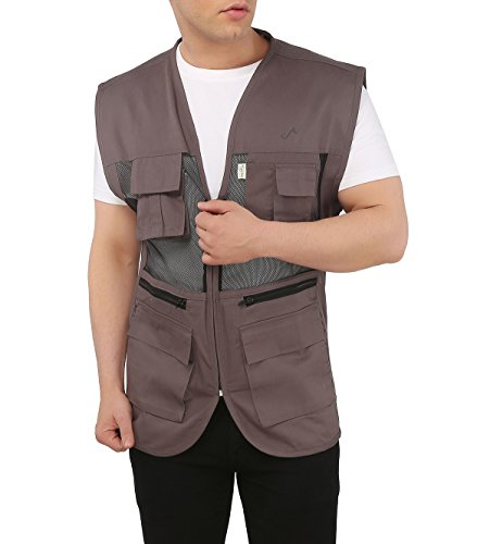 Ashdan Photographer Durable Vest. Sleeveless Regular Size Outdoor Expedition Jacket. Netted Ventilation + Adjustable Waist + Multi-Utility Pockets. 4 Large Lens-Pockets 2 Zipper 2 Velcro Pockets+ 3 Chest Utility Pockets. Photography. Props Vest. Trekking / Hiking Outerwear. Cotton Blended Jacket. Sports Utility User Friendly Wear. Plus Sizes Available. Great Gift Experience