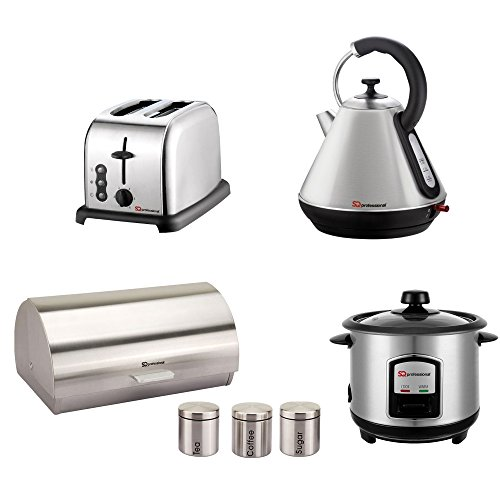Gift Set Of: Rice Cooker, Bread Bin, 3 Canisters, Toaster And Kettle In Silver
