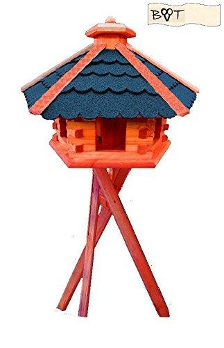 Bird Feeder Blue Xxxlarge Vöglehus, Decorative Wooden Birdhouse With Stand Blue B60blms Birdhouse
