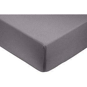 AmazonBasics 400-Thread-Count Cotton Sateen Fitted Sheet, Super King - Dark Grey