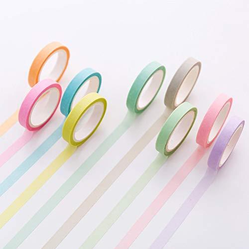 aket Candy Regenbogen Einfache Farbe Washi Tape DIY Scrapbooking Aufkleber Label Abdeckband Schule Bürobedarf ()
