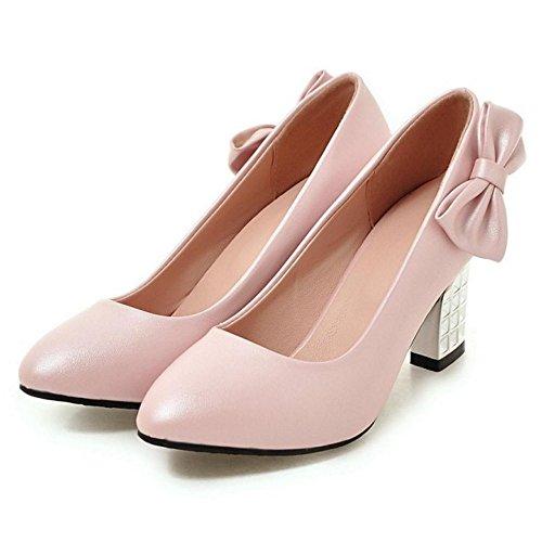 TAOFFEN Damen Gem¨¹tlich Blockabsatz High Heel Schlupfschuhe Pumps Mit Bogen Pink