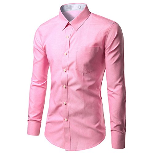 Men's Chemise Homme Long Sleeve Slim Fit Dress Shirts pink