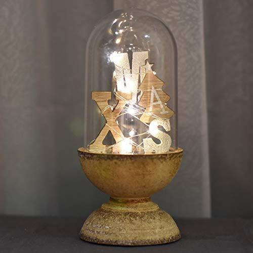 Valery Madelyn 17cm Höhe Kunststoff Kuppel LED Weihnachten Beleuchtung Glocke Weihnachtsdekoration Tisch Weihnachtsdeko In den Wald Thema Batteriebetrieben mit Warm Licht Lichterkette und Holzboden