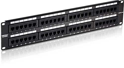 Tc Panel (TRENDnet 48-Port Cat5/5e nicht abgeschirmtes Patch Panel, Wand- oder Schrank- montierbar, Abwärtskompatibel mit  CAT 3/4/5 Kabel, TC-P48C5E)