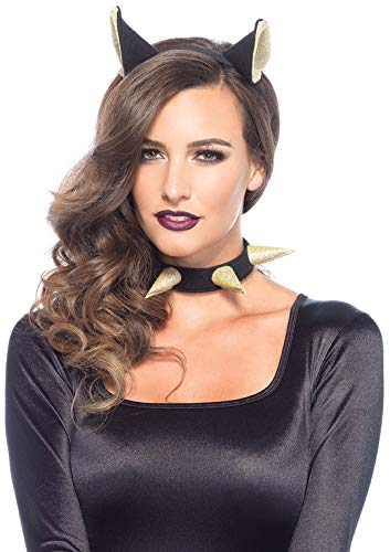 Kitty Kit Kostüm - Leg Avenue 3731 - 2-teilig Bad Kitty Zubehör Kit - Einheitsgröße, schwarz/gold