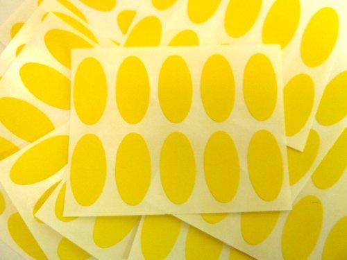 100 Etiquetas , 25x12mm Ovalado , Amarillo , Código De Color Pegatinas , autoadhesivo Adhesivo Etiquetas Colores