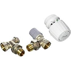 """Danfoss 013G5217 Pack tête thermostatique Technologie gaz pour la rénovation RA2990 + Corps RA-FN 1/2"""" équerre + coude RLV-S 15, Blanc"""