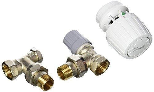 Danfoss 013G5217 Pack tête thermostatique Technologie gaz pour la rénovation RA2990 + Corps RA-FN 1/2' équerre + coude RLV-S 15, Blanc