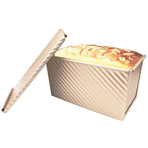 Molde para pan, antiadherente, de acero al carbono, con tapa deslizante, molde para hornear pan, bandeja de liberación rápida con orificios de ventilación para hornear rápidamente (estilo ondulado)