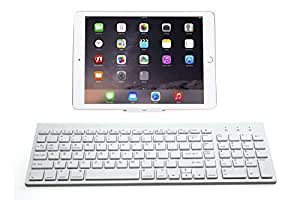 Susan s Full Size Bluetooth Keyboard W Numeric Keypad for Windows Android iOS PC Tablet Smartphone (Apple iPad Air, iPad 4 / 3 / 2, iPad Mini 2, iPad Mini, iPhone 5S /5C /5 , iPhone 4S/4,Galaxy Tab ,Galaxy Note, Microsoft Surface & More)-White