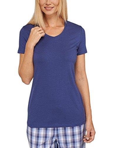 Schiesser Damen Schlafanzugoberteil Shirt 1/2 Arm, Blau (dunkelblau 803), 38