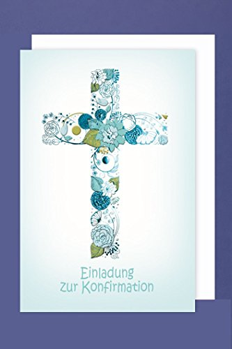 Konfirmation Einladungen Karte 5er Set Kreuz Blumen Ornamente B6