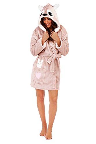 Loungeable, Damen Luxus Kaputze Neuheit Spaß Geschenk 3D Tier Robe , Känguruh, EU 44-46 (Robe Braut Spa)