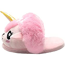 Unicornio Felpa Suave Calentar Zapatillas Zapatos 1 talla para todos, 36-41 (Rosado Zapatillas)