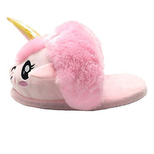 2016 Entwurf Neu Unisex Unicorn Einhorn Hausschuhe Winter Warm Plüsch Schuhe Pantoffeln Einheitsgröße für Erwachsene, 36-41 Rosa