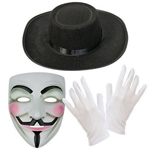 V for Vendetta Maske, Hut & Weiße Handschuhe Kostüm Kombo-Set (V For Vendetta Kostüm)
