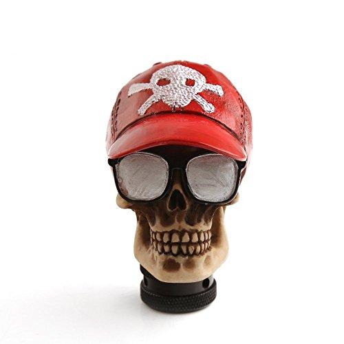 Universal Car Truck Manual Gear Stick Shift Knob Gorra De Béisbol Skull Head Shifter Cover Rojo Acrílico