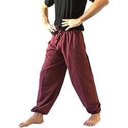 Love Quality - Pantalones holgados de algodón para hombre - talla única, estilo hippie/bohemio - Rojo - Talla Única