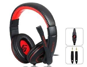 TR Casque senic G9 3,5 mm de jeu de Sur-oreille avec microphone et 2,2 m de câble (noir et rouge)