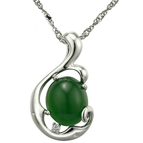 BeyDoDo Modeschmuck 925 Sterling Silber Halskette Anhänger Damen Unregelmäßige Oval Zirkonia Silber Grün (Bilder Nonnen Kostüme Von)