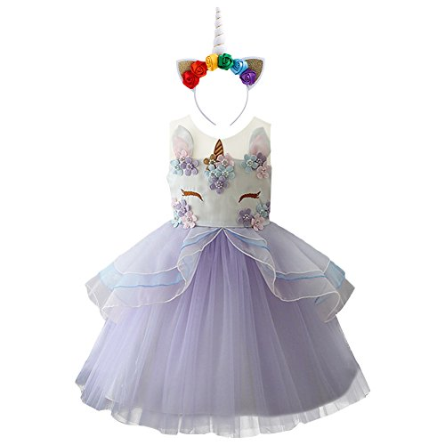 Costume unicorno Fiore Ragazze Unicorno Abito Principessa Cerimonia Carnevale Cosplay Abito Viola+fascia 6-7 anni