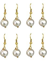 Surat Diamonds Set Of 4 White Shell Pearl And Gold Plated Wire Hanging Earrings For Women (H1638)