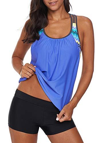 Aleumdr Damen Blouson gestreiftes bedrucktes Träger-T-Back Push Up Tankini Top mit Shorts - blau - Small Taille Blouson
