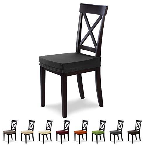 Housses de siège SCHEFFLER-Home Marie 2 Set, élastiques Couverture résistant à l'eau, Couvre de Chaise siège, Noir