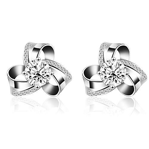 Ohrringe Damen Ohrstecker 925 Sterling Silber mit 5A Zirkonia für Freundin Mama (Silber Bambus-ohrringe Sterling)