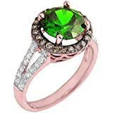 Little Treasures - 14 ct Rose Gold Diamond Engagement Ring with Green Emerald/CZ