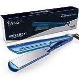 Ovonni Lisseur Cheveux Professionnel avec Plaques Large Ionique en Nano-Titanique, Fer à Lisser Professionnel, Chauffer Rapidement 10s, Double Tension/Voltage 100-240V (Bleu)