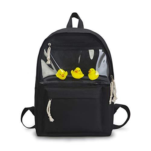 BORKE Mode Lässig Oxford-Gewebe Rucksack Damen Schulrucksack Mädchen Teenager Kawaii Ente Emoji Durchsichtiger Tasche Outdoor Travel Backpack Schlicht Moderner Cityrucksack