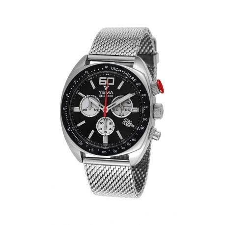 Reloj yema meangraf hombre soleillé negro y contadores Silver–ymhf1441–Idea regalo Noel–en Promo
