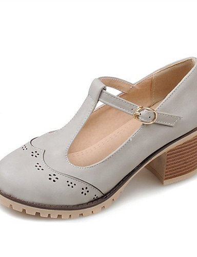 WSS 2016 Chaussures Femme-Mariage / Habillé / Décontracté / Soirée & Evénement-Noir / Rose / Blanc / Gris-Gros Talon-Talons-Talons-Similicuir gray-us5 / eu35 / uk3 / cn34