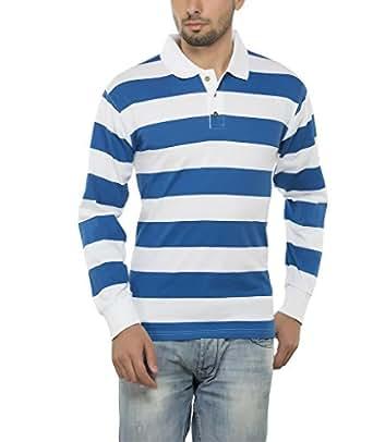 57b19e88b Clifton Mens Bold Stripes Full Sleeve Collar Polo T-Shirt-Royal Blue ...