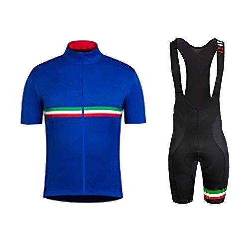 Herren Radtrikot Trikot Bike-T Full Zip Top+Trägerhosen Cycling Sets Bib Shorts with gel Pad Sommer Anzüge (Tuxedo Skin Suit)