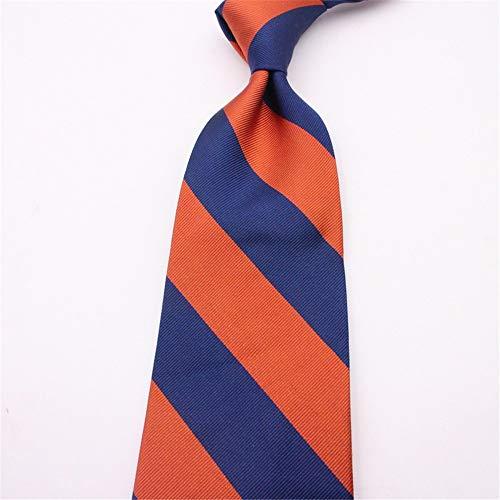WUNDEPYTIE Silk Orange Herren Business Stripe Seidenkrawatte, Orange + Big Blue Orange Silk Bow Tie