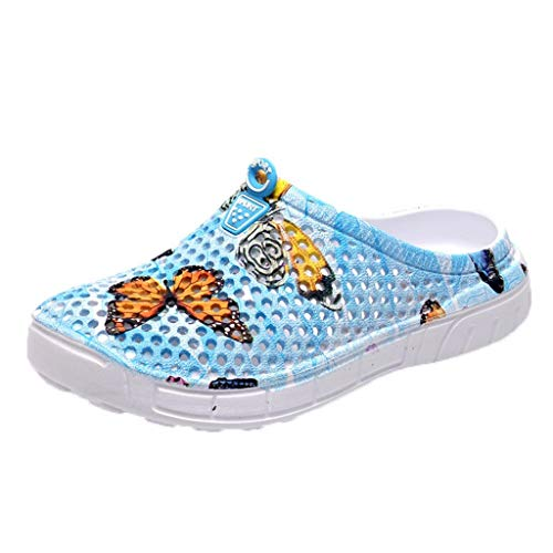 BaZhaHei Women Sandals Summer Casual Shoes Beach Flat Butterfly Print Lightweight Quick-Dry Garden Clog Shoes Breathable Slippers Size 3.5-7.5