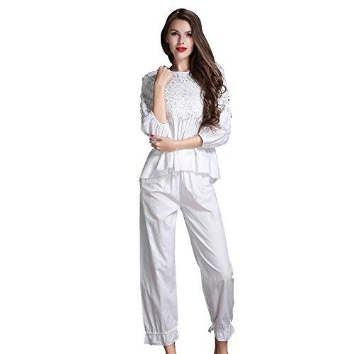 GJX Donna autunno inverno pigiama Set Lounge Pjs , white , L