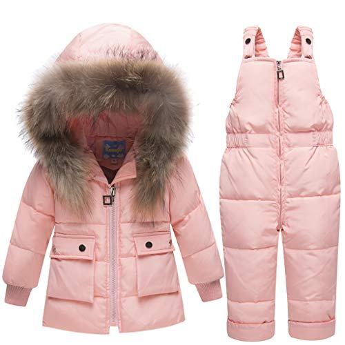 Baby Kinder Set Daunenjacke mit Kaputze Bekleidungsset Baby Kinder Junge Mädchen Verdickte Winterjacke + Winterhose Kleinkind Daunenhose Jacket Mantel (Pink, Höhe 90CM-95CM( Etikett 90))