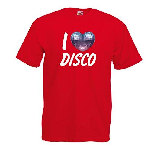 lepni.me Männer T-Shirt Ich liebe Disco - Retro Musik Kleidung (XX-Large Rot Mehrfarben)