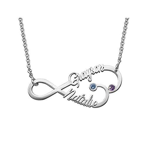 beba705094d9 Collar Plata Colgante con Nombre Infinito Personalizados Regalo para  Familia Cadena Más Extención