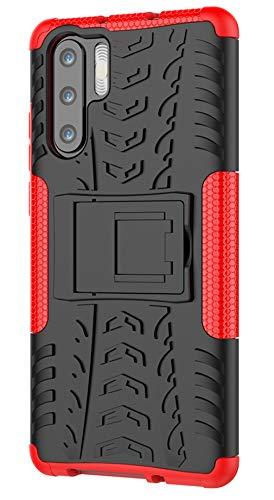 XINGFENGDI Huawei P30 Por Hülle,Handytasche Kratzfest aus TPU/PC Material Reifenprofil Handyhülle Kompatibel mit für Huawei P30 Por - Rot