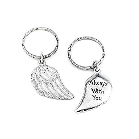 Angel Wing metal Keyring - 'Always With You' message. Handmade pewter keyring, double sided keyring with a detailed feathered effect angel wing on one side and 'Always with you' inscribed on the reverse. Sturdy keyring, handmade in the UK. Packaged in an organza