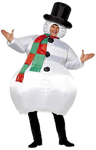 Herr Erwachsene Für Herren Schneemann Kostüm - Smiffys Herren Aufblasbarer Schneemann Kostüm, Anzug mit Hut, Schal und selbstaufblasendem Gebläse, One Size, 38155