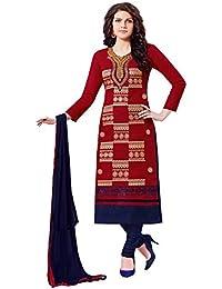 Jheenu Women's Red Glass Cotton Unstitched Dress Materials