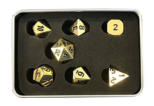 God Player - Metal Dice Set for Role Play Games - Gold Color - Ideal for Dungeon & Dragons D&D DED Pathfinder Cthulhu Dragonlance -