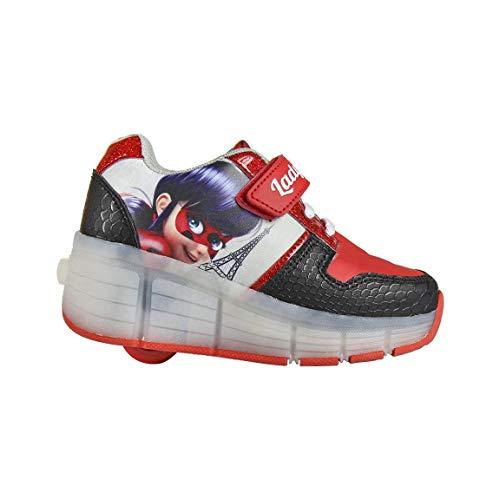 Miraculous | Ladybug Zapatillas Deportivas para Niñas | Zapatos con Ruedas | Suela Fantástica Luces LED | Diseño De Patines | EU 33 |