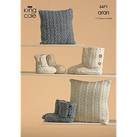 King Cole Knitted Slipper and Cushion Knitting Pattern 3471 by King Cole - Design Patterns Knitting